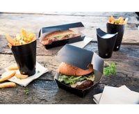 Scatola hamburger formato nero M 250 gr/m2 x 50 14x12,5x8cm-Scatole per hamburger
