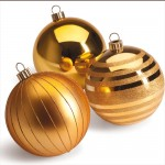 Palline decorative oro con 3 finiture Diam.15cm - Pack da 3