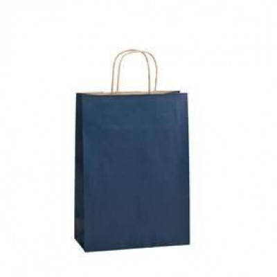 Borsa shopper  kraft  blu L22 x P10 x A31 cm - Pack da 50-Shopper kraft maniglie ritorte