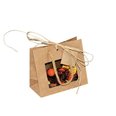 Busta shopper kraft finestra + cordoncino 16 x 8 x 14 cm - Pack da 12-Shopper kraft maniglie ritorte