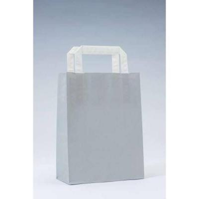 Busta shopper kraft grigio maniglie piatte Dim: 18 x 8 x  24cm - Pack da 50-Shopper in carta kraft