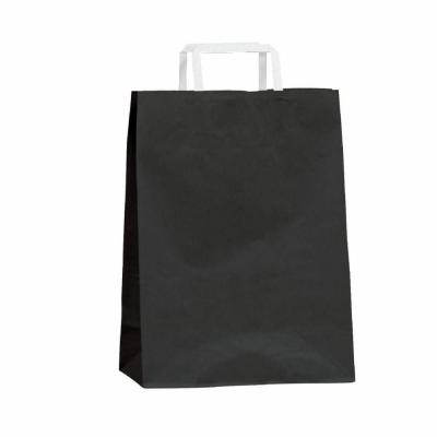 Busta shopper kraft nero  maniglie piatte 22 x 10 x 29 cm - Pack da 50-Shopper in carta kraft