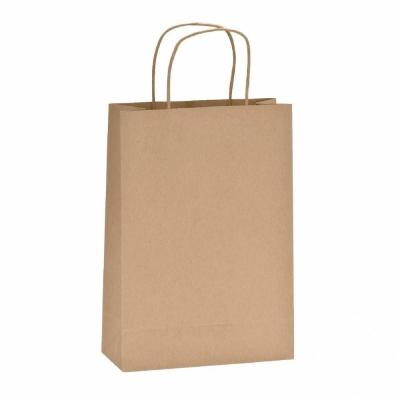 Shopper carta 100%  riciclata Dim. 22 x 10 x 32 cm-  Pack da  50-Shopper kraft maniglie ritorte